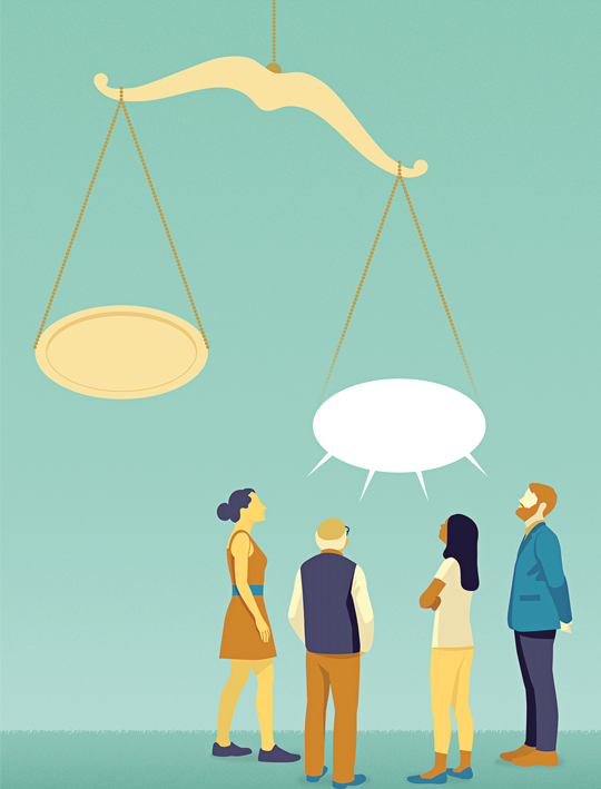Illustration shows a scale. One side is heavier because four people are speaking into it.