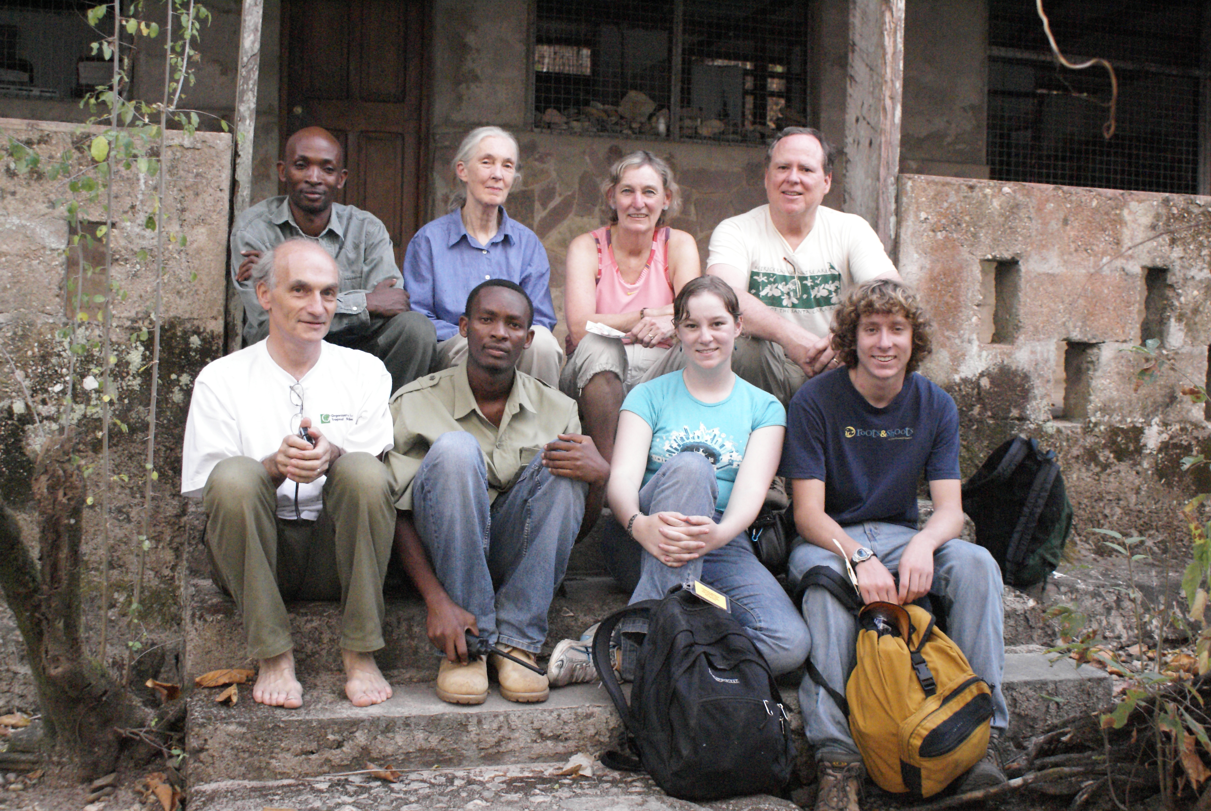 Merrick and her family with Jane Goodall at Gombe Research Centre