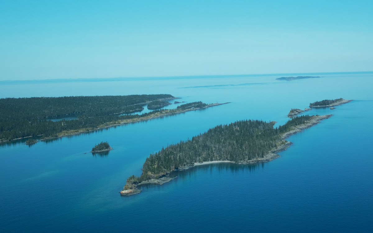 An aerial view of Isle Royales rockbound northeastern tip and surrounding islands in Lake Superior